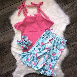 Other - Girl Boutique Flamingo Capri Outfit Set